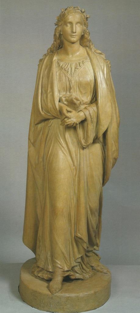 John Hancock, Beatrice, c. 1851. Painted plaster, 183 cm. Victoria & Albert Museum.