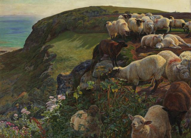 William Holman Hunt, Our English Coasts 1852 ('Strayed Sheep'), 1852. Oil on canvas. Tate.